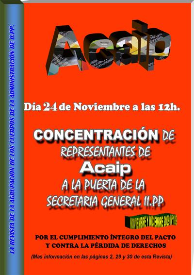 Concentración de repreentantes de Acaip en la puerta de la SGIIPP