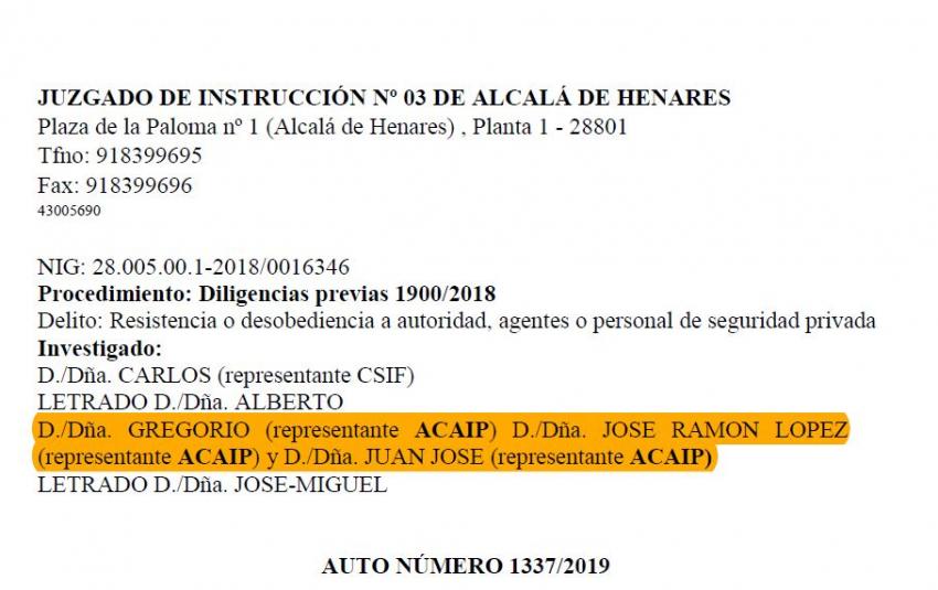 Sobreseimiento y archivo diligencias contra representantes de Acaip
