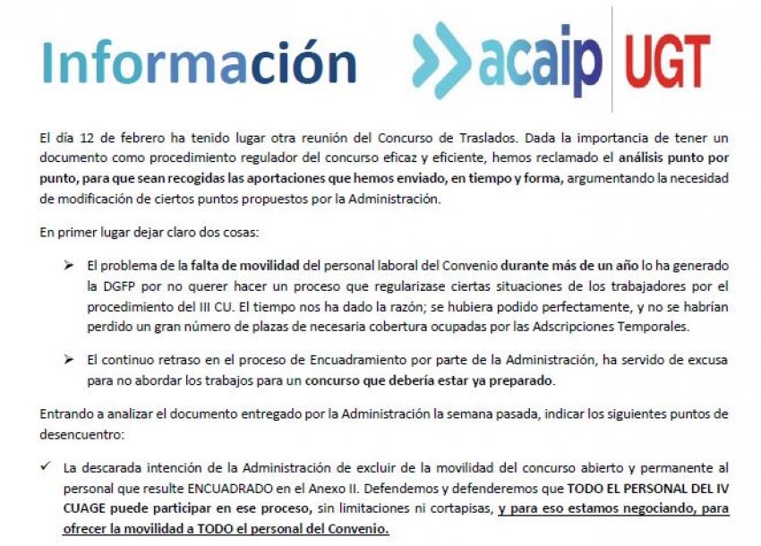 P. laboral: Infomación concurso de traslados