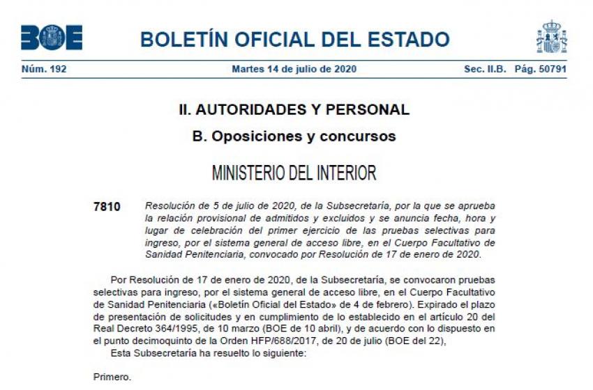 Admitidos-excluidos provisionales oposiciones a  Enfermer@s IIPP