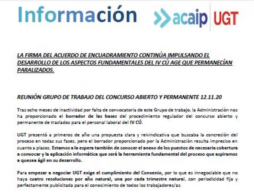 P. Laboral.- Información concurso abierto y permanente