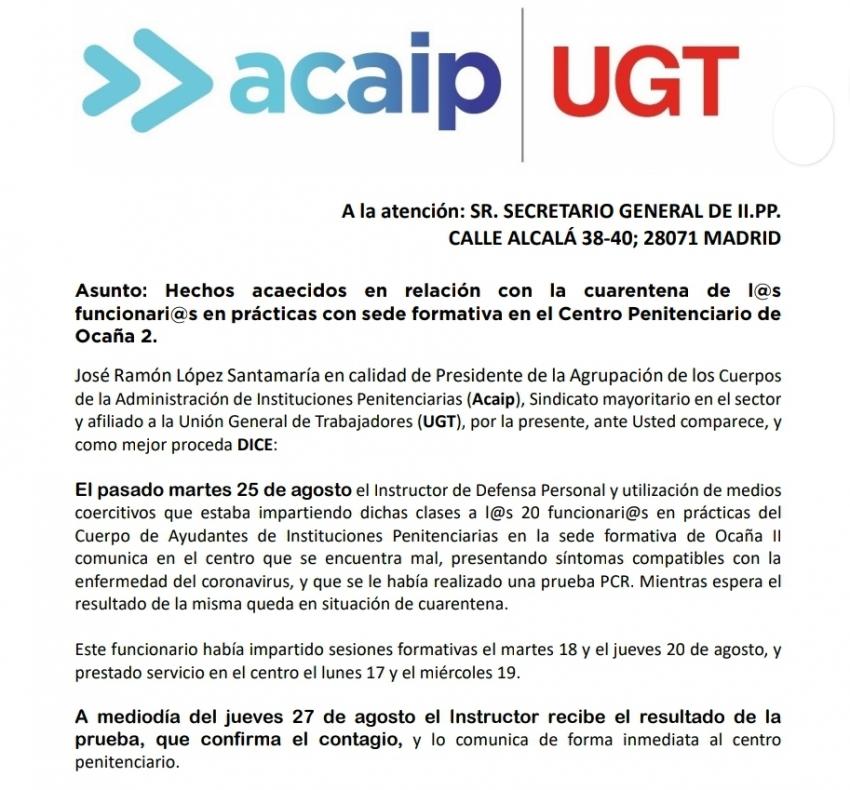 Acaip-Ugt exige responsabilidades por contagio Covid <a href=