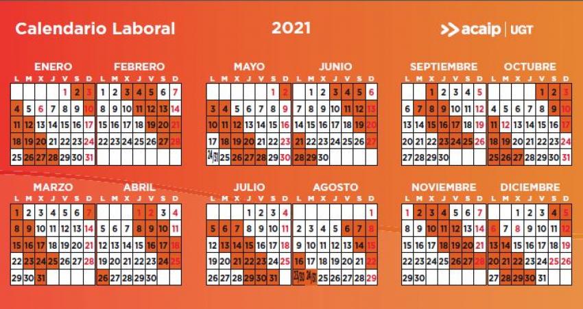 Calendarios laborales 2021