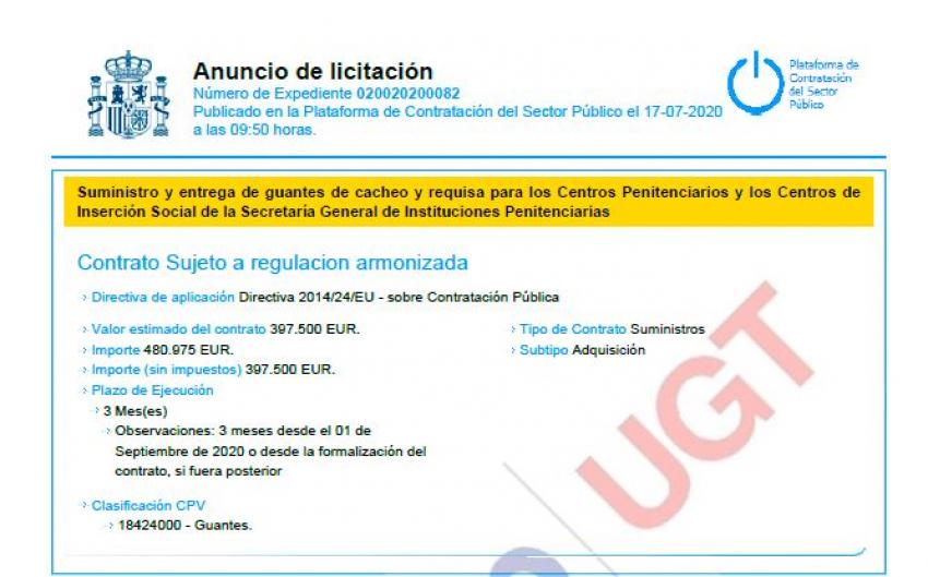 Anuncio licitación adquisición guantes cacheo II.PP