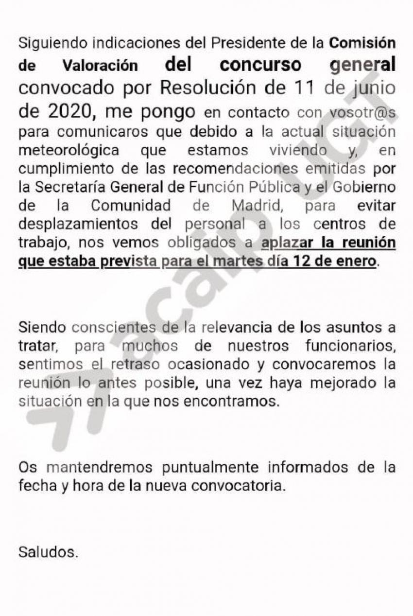 Se suspende reunión concurso traslados dia 12 de enero 2021