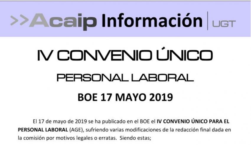 Publicado IV Convenio Unico del personal laboral