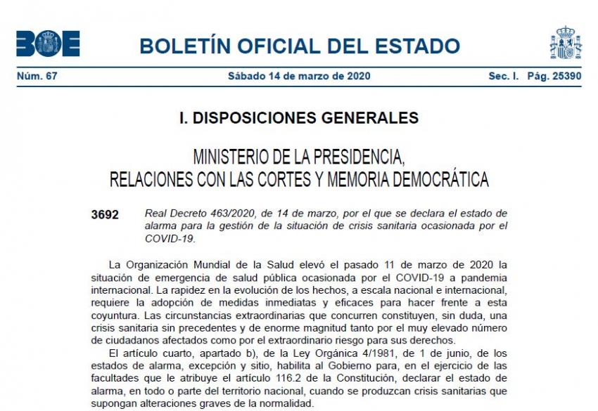 Real Decreto 463/2020, declaración estado de alarma