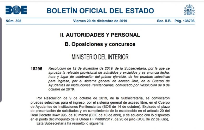 Primer examen oposición C. Ayudantes IIPP