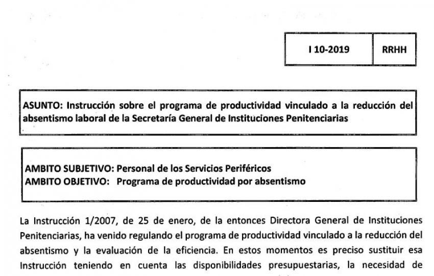 Instrucción 10/2019.- Productividad ligada al absentismo