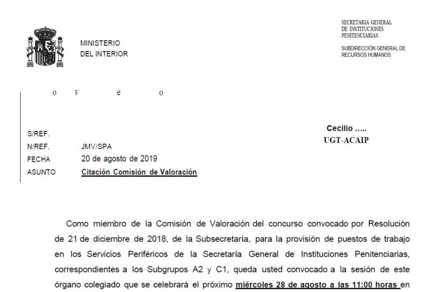 Convocatoria comision valoracion concurso de traslados