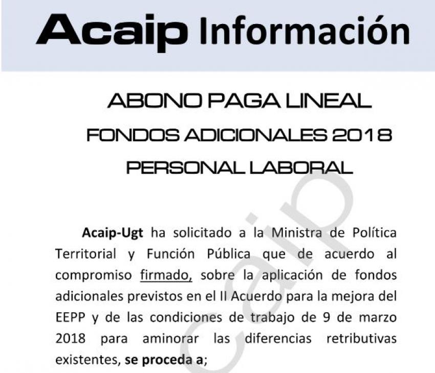 Abono fondos adicionales personal laboral 2019