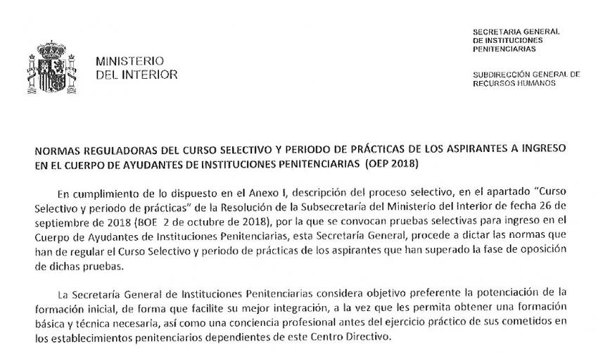 Normas reguladoras periodo en prácticas Cuerpo de Ayudantes OEP 2018