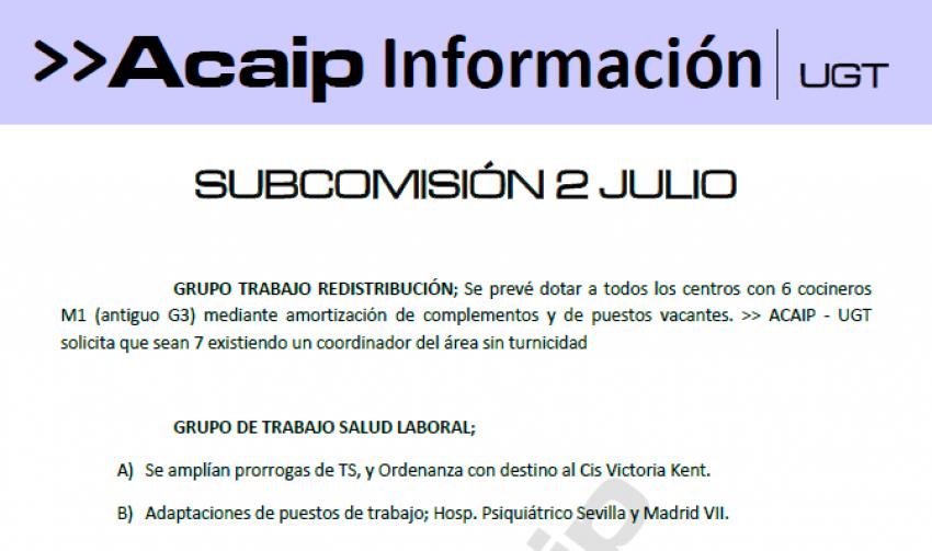 Comunicado reunión subcomisión personal laboral 2 de julio 2019