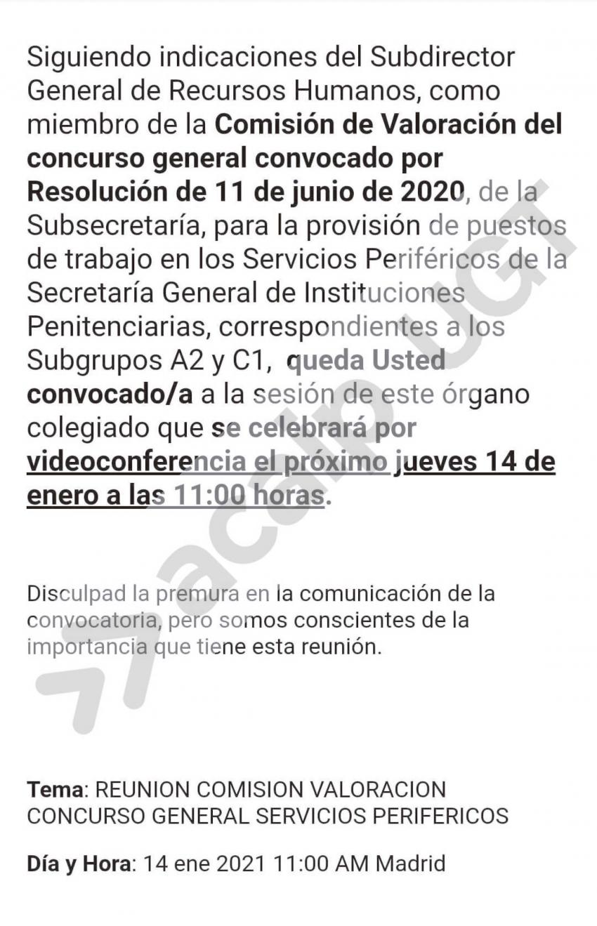 Convocada reunión concurso traslados 14 enero 2021