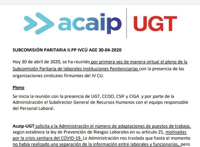 SUBCOMISIÓN PARITARIA II.PP IVCÚ AGE 30-04-2020