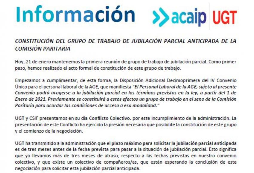 P.Laboral.- Constitución grupo trabajo jubilación parcial anticipada