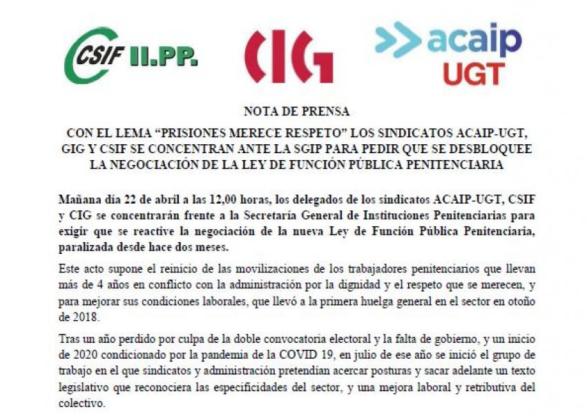 Nota de prensa ante concentración en la SGIIPP