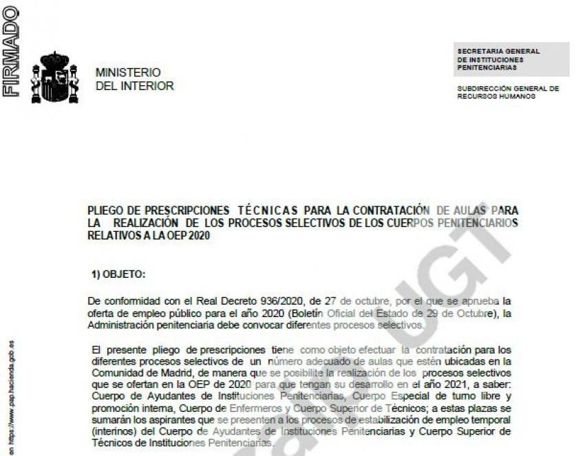 Contratación aulas procesos selectivos OEP 2020