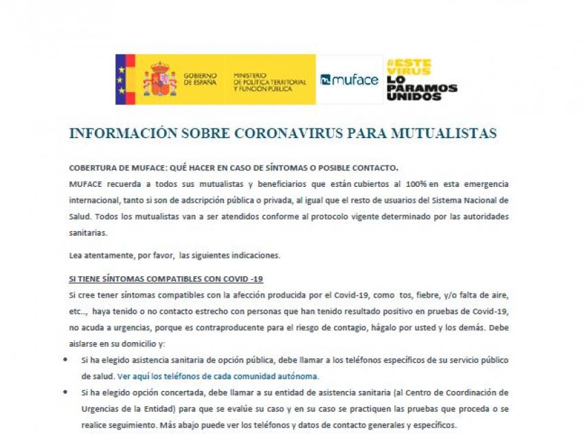 Informacion coronavirus mutualistas de Muface
