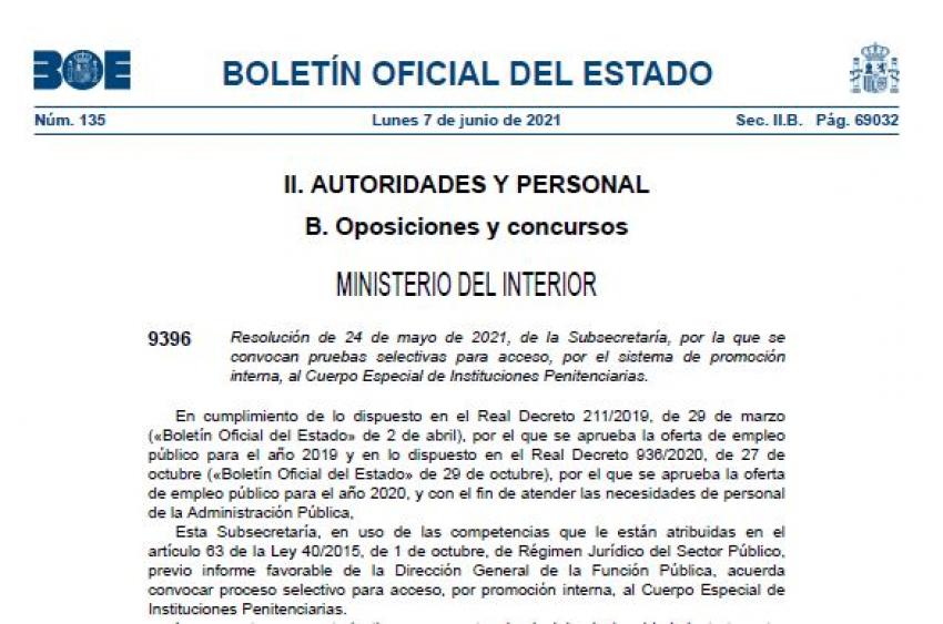 Convocatoria Cuerpo Especial OEP 2019 y OEP 2020