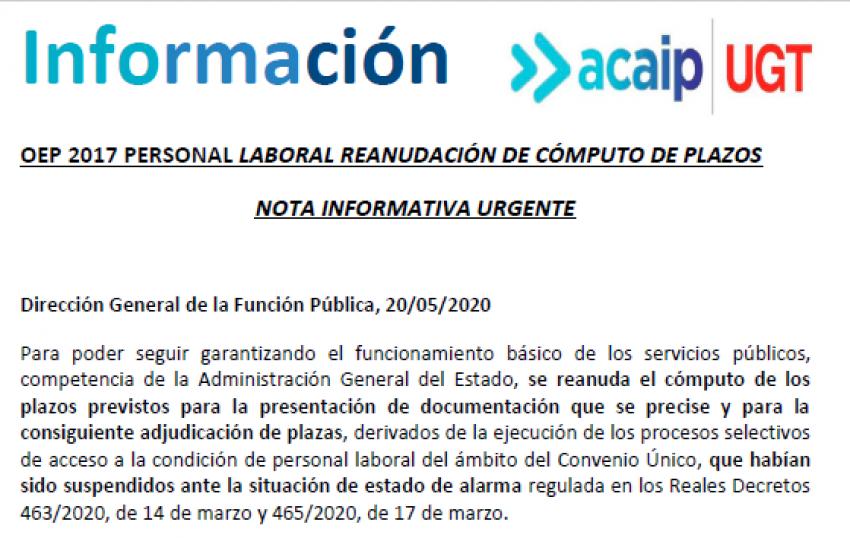 P. Laboral.- reanudacion cómputo de plazos OEP 2017