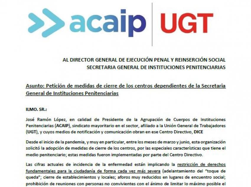 ACAIP-UGT solicita el cierre de los centros penitenciarios