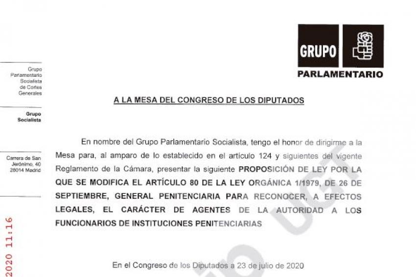 Proposición de ley Grupo Parlamentario socialista: Agentes autoridad