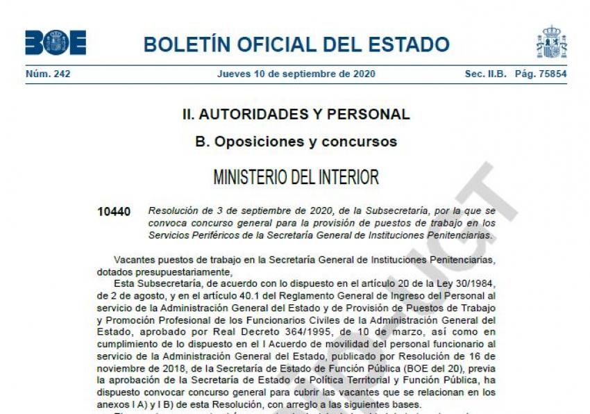 Convocatoria concurso traslados Cuerpo Técnico II.PP