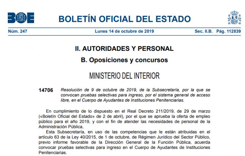 Convocatoria oposiciones Cuerpo Ayudantes OEP 2019