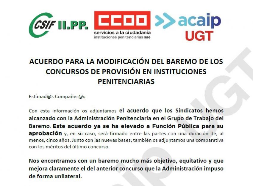 ACUERDO  MODIFICACIÓN DEL BAREMO DE LOS CONCURSOS TRASLADOS IIPP