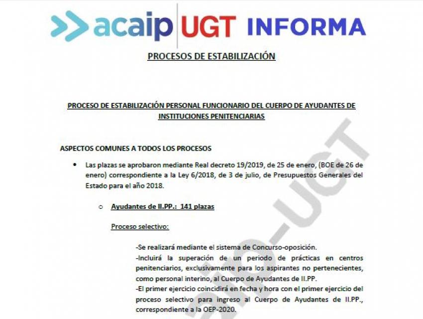 Proceso estabilización de empleo en II.PP