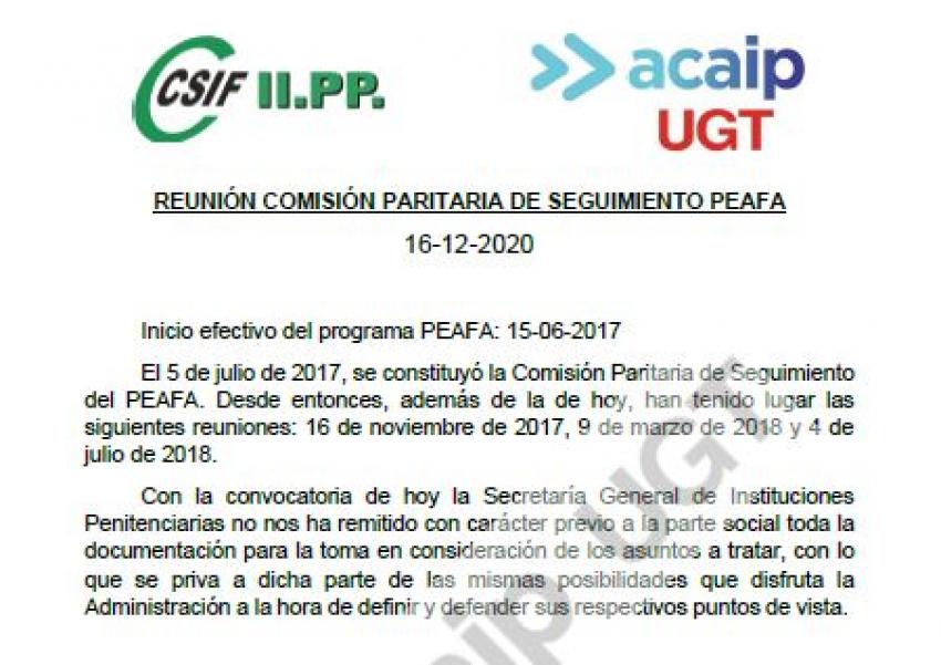 Comunicado reunión seguimiento PEAFA  (16/12/20)