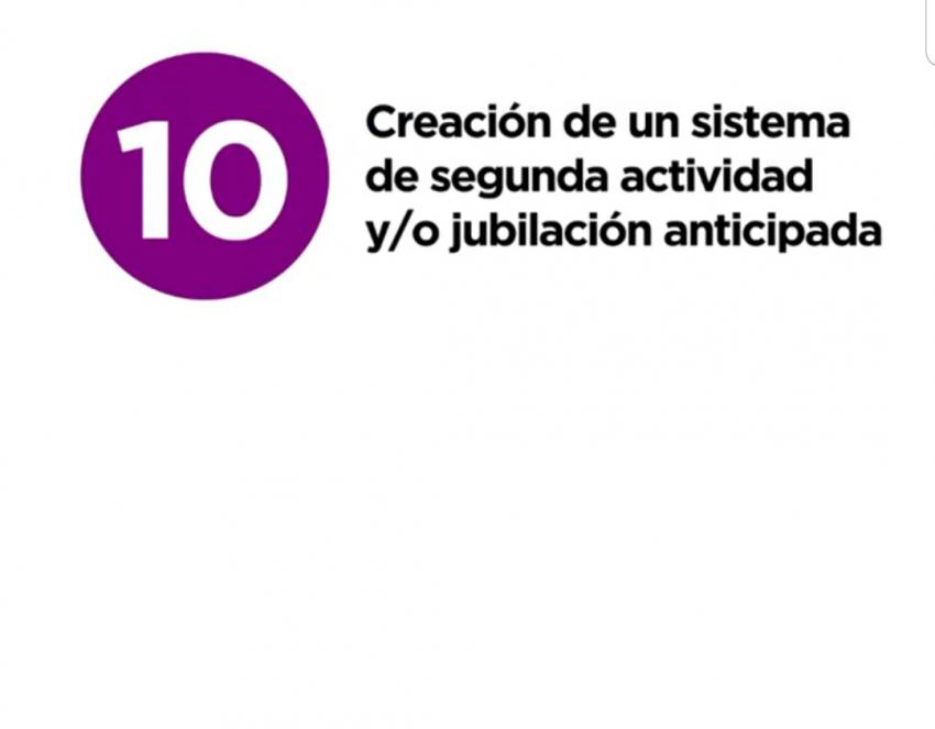 12 razones y medidas -10. Creacion sistema segunda actividad y/o jubilacion anticipada