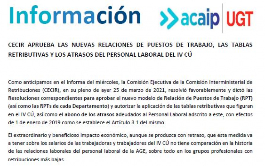 P.Laboral.- CECIR aprueba los atrasos y tablas retributivas