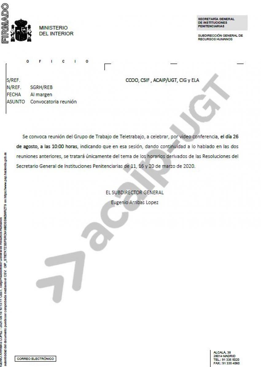 """Convocatoria reunión """"horarios"""" para el 26 de agosto 2021"""