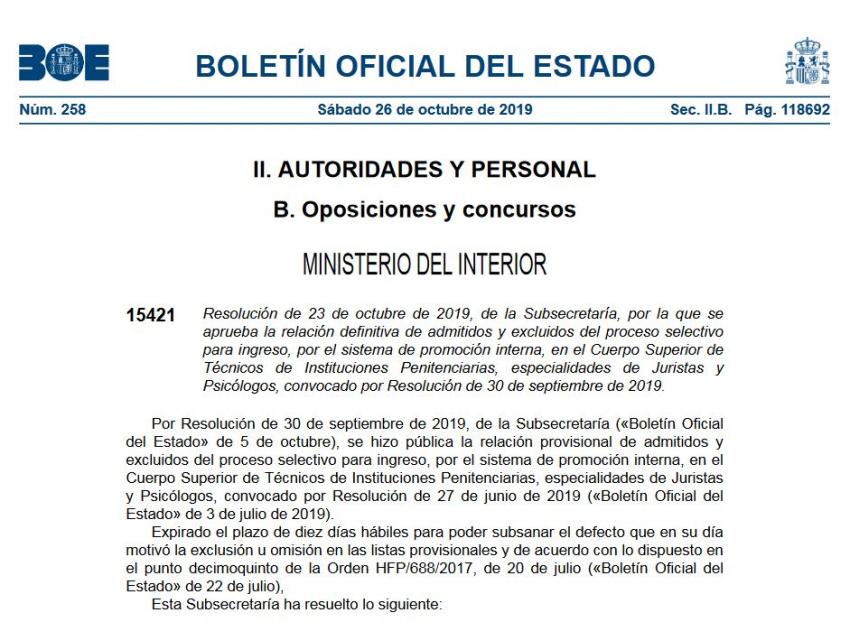 Listados definitivos Cuerpo Tecnicos de II.PP promoción interna