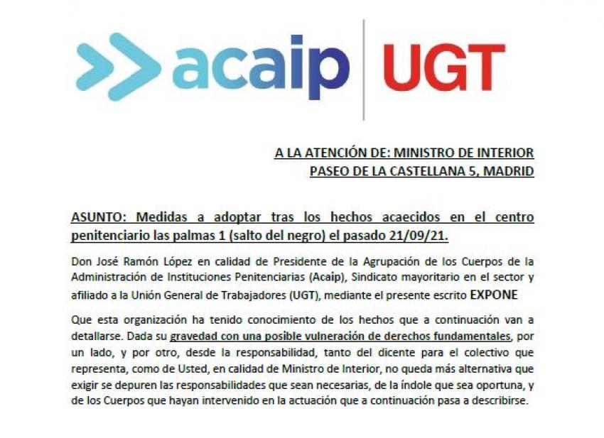 Acaip-Ugt solicita al Ministro del Interior el cese del Subdirector Seguridad Las Palmas I