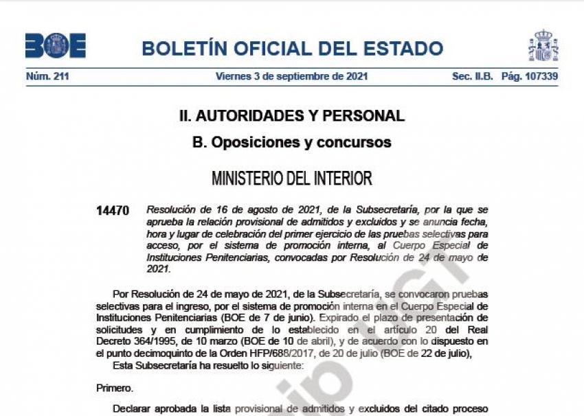 Convocatorioa primer examen C. Especial OEP 2021