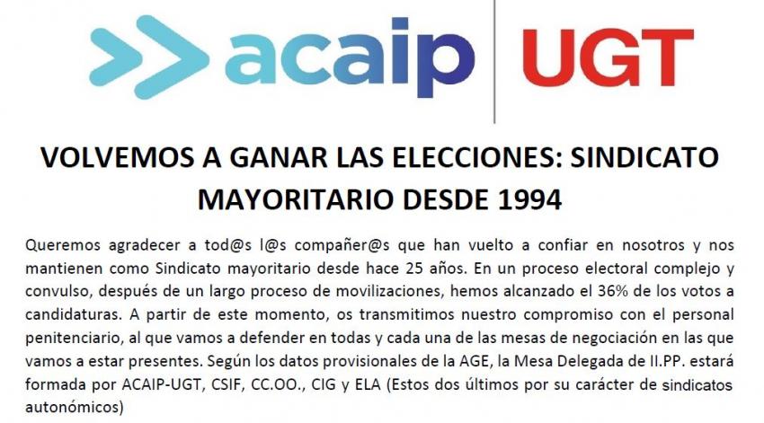 VOLVEMOS A GANAR LAS ELECCIONES. SINDICATO MAYORITARIO DESDE 1994
