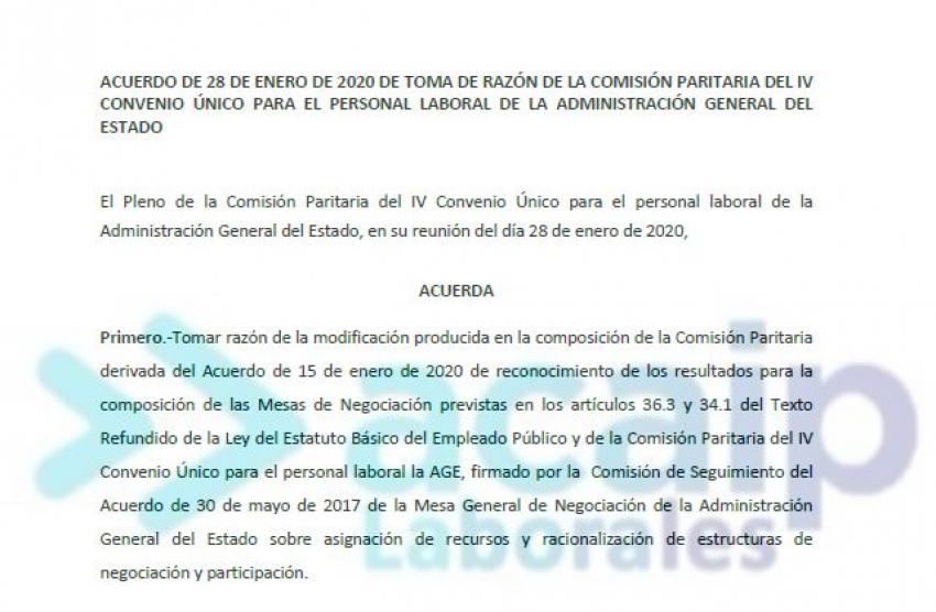 Representatividad comisión paritaria P. laboral