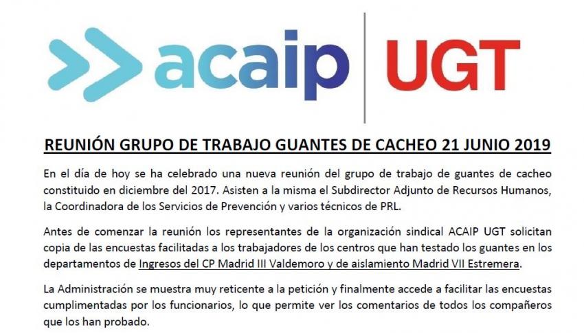 REUNIÓN GRUPO DE TRABAJO GUANTES DE CACHEO 21 JUNIO 2019