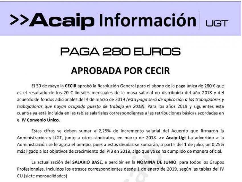 Aprobada por la CECIR paga unica de 280€ al para personal laboral.- Atrasos
