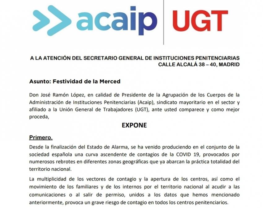 """Acaip-Ugt solicita la suspensión de todos los actos de la """"Merced"""""""