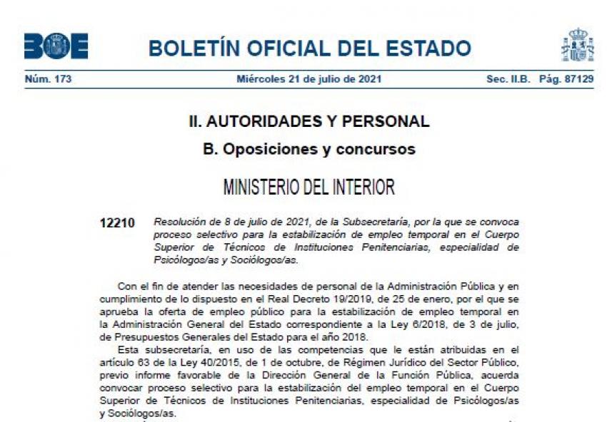 Convocatoria proceso consolidación C. Técnico II.PP