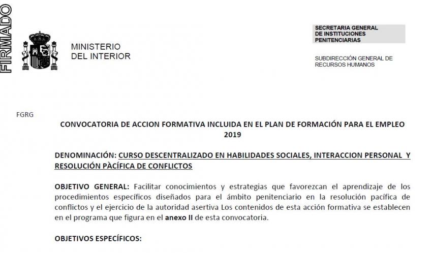 CURSO DESCENTRALIZADO DE HABILIDADES SOCIALES, INTERACCIÓN PERSONAL Y RESOLUCIÓN