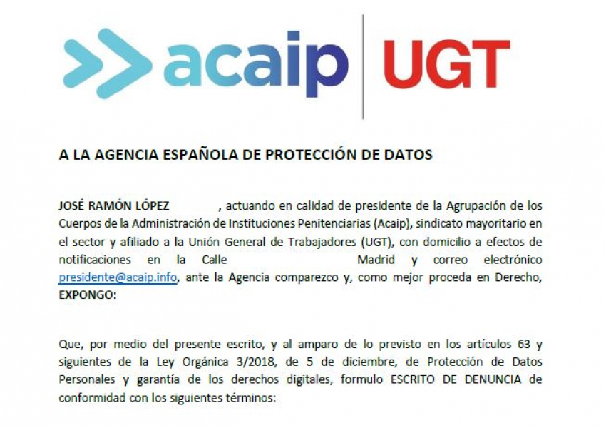 Acaip-Ugt presenta denuncia ante la Agencia Proteccion de datos