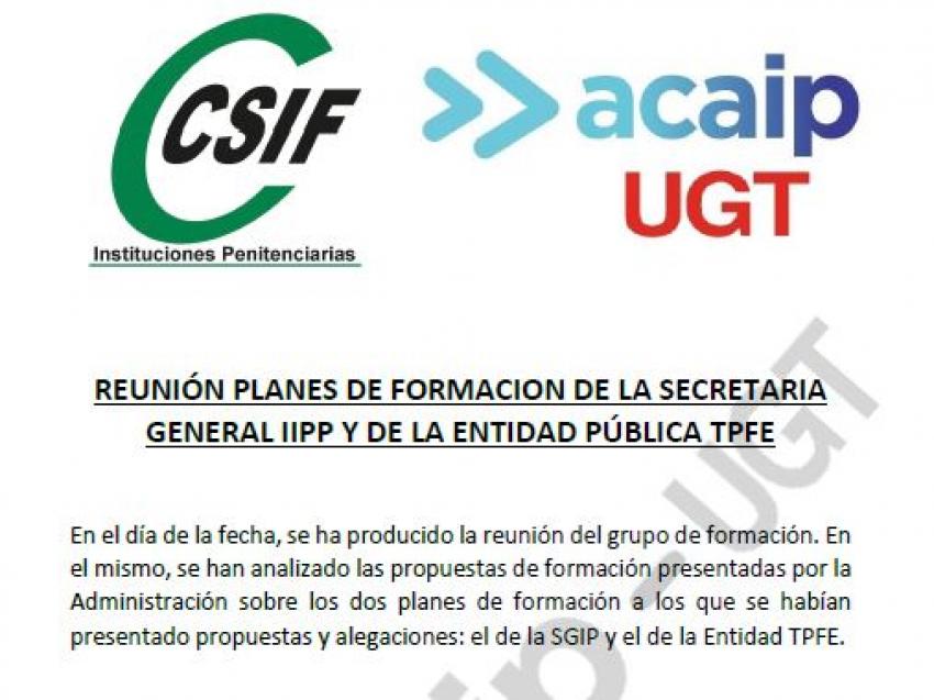 Comunicado reunión formación de la SGIIPP