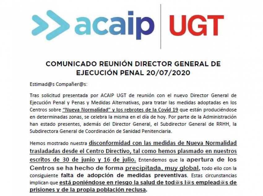 Comunicado reunion con Director General de Ejecución Penal