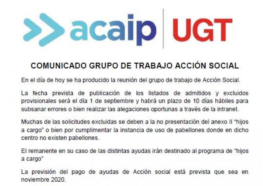 Comunicado grupo de trabajo de Acción social