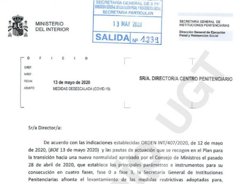 RESOLUCIÓN DE LA DIRECCIÓN GENERAL DE EJECUCIÓN PENAL SOBRE DESESCALADA COVID 19